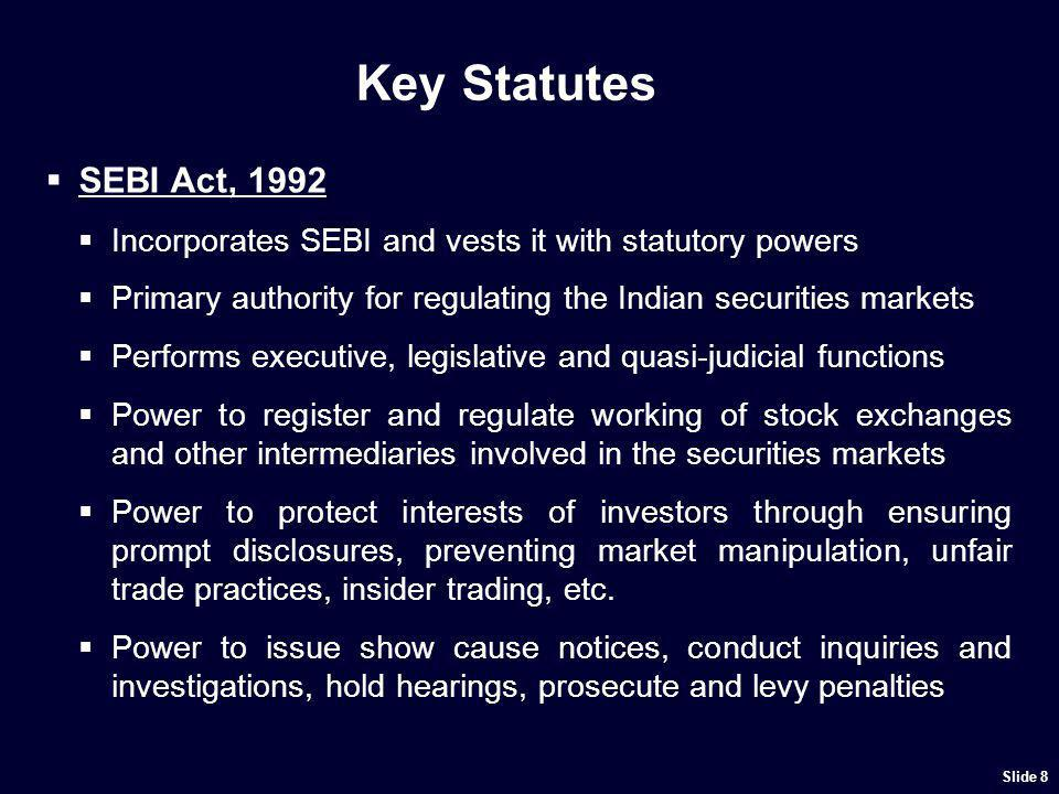 Key Statutes SEBI has framed detailed regulations covering a wide range: Issue of Capital (Public, Rights, Bonus) and Disclosures.