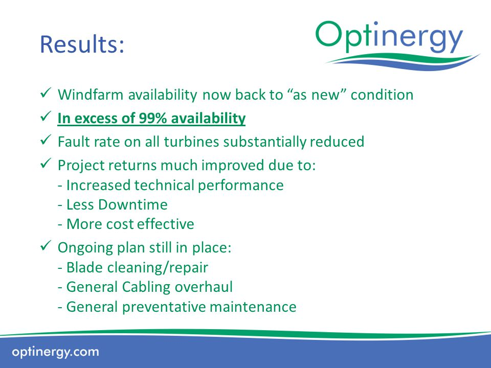Results: Windfarm availability now back to as new condition