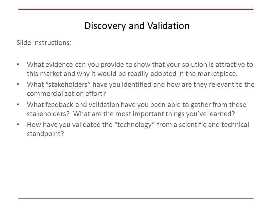 Discovery and Validation