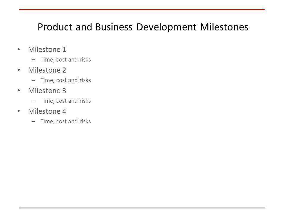 Product and Business Development Milestones