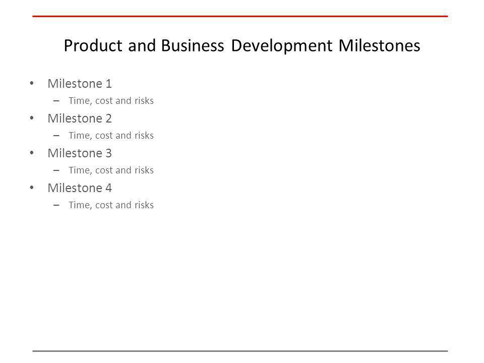Product and Business Development Milestones