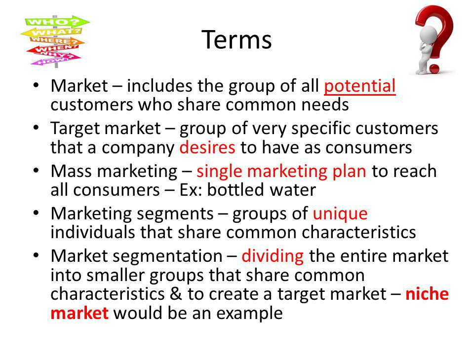 Terms Market – includes the group of all potential customers who share common needs.