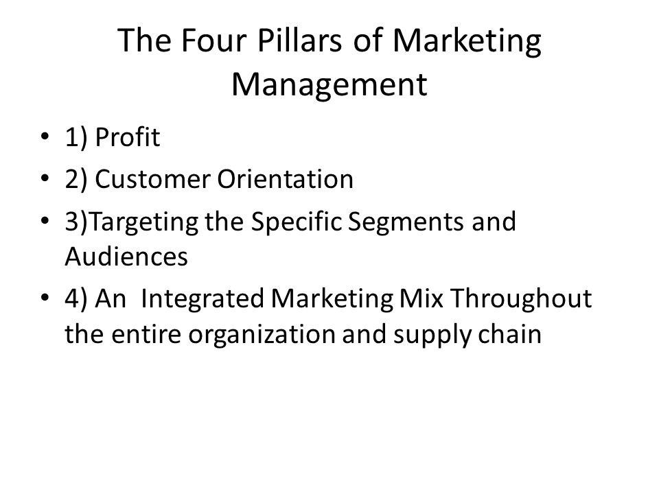 The Four Pillars of Marketing Management