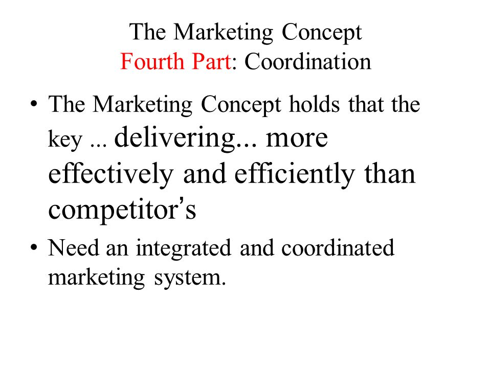 The Marketing Concept Fourth Part: Coordination