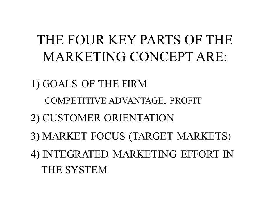 THE FOUR KEY PARTS OF THE MARKETING CONCEPT ARE: