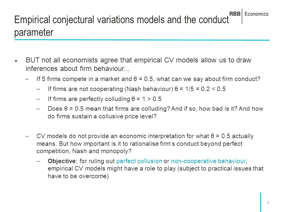Empirical conjectural variations models and the conduct parameter