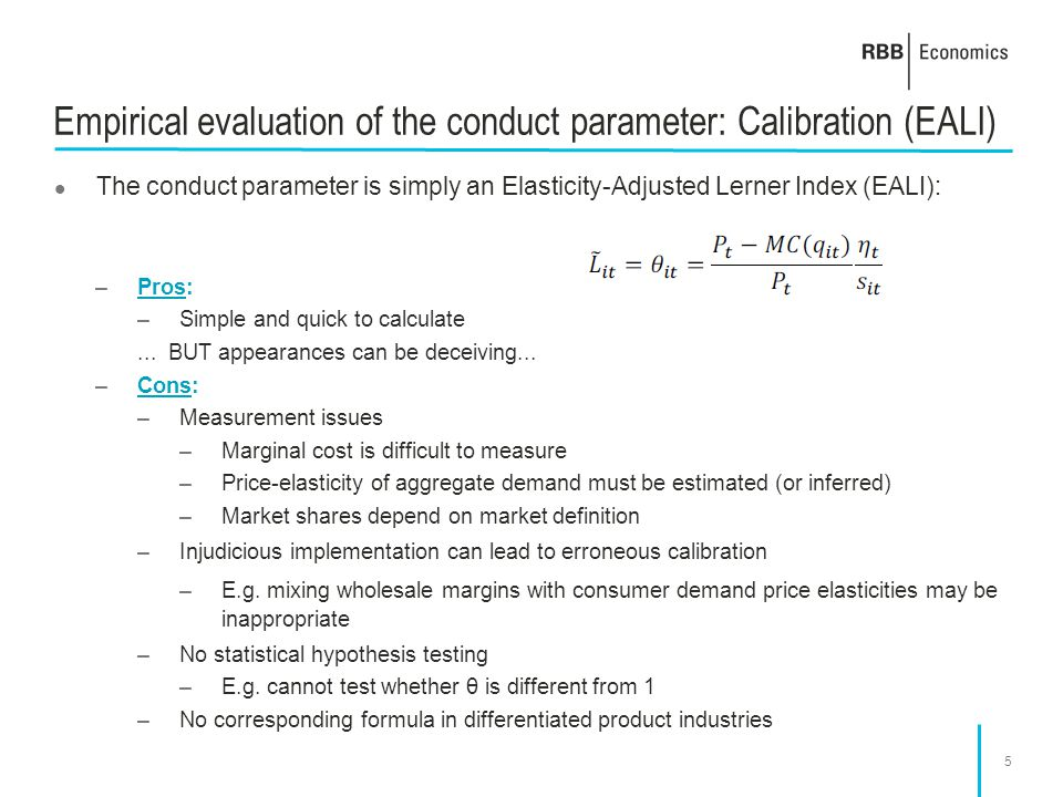 Empirical evaluation of the conduct parameter: Calibration (EALI)