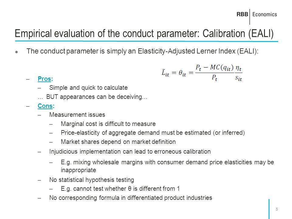 Empirical evaluation of the conduct parameter: Calibration (EALI)