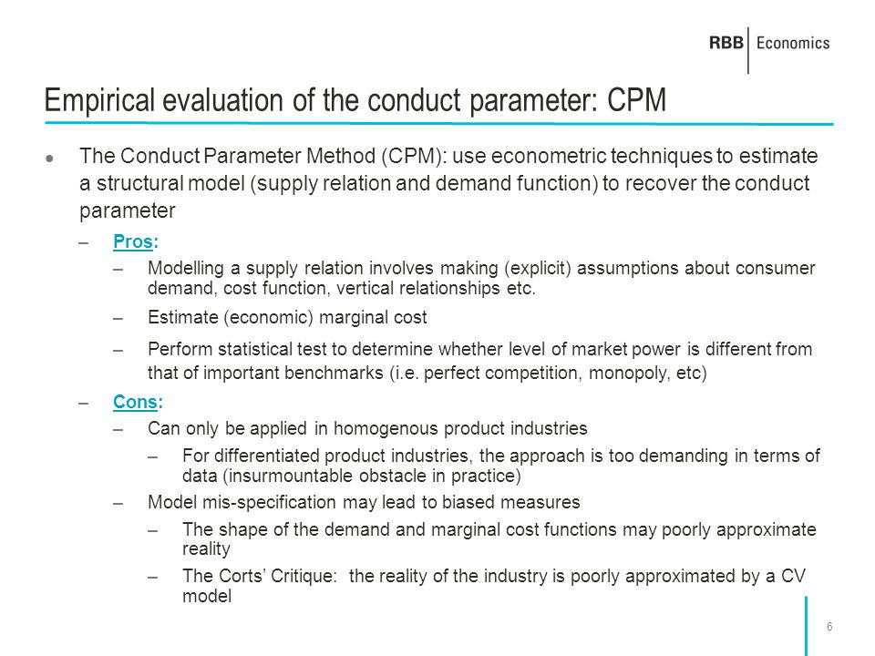Empirical evaluation of the conduct parameter: CPM