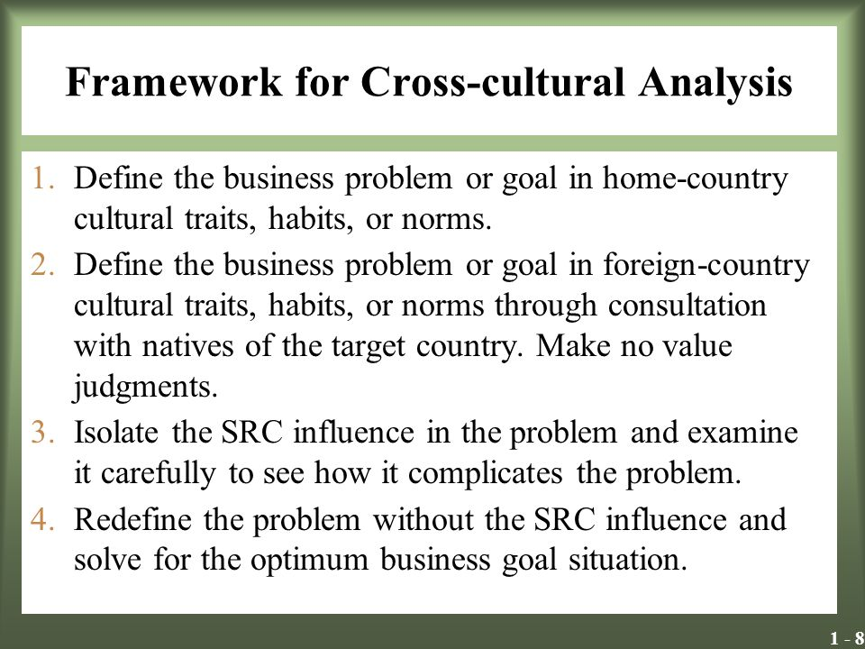 Framework for Cross-cultural Analysis