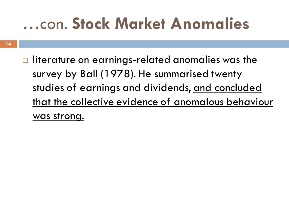 …con. Stock Market Anomalies