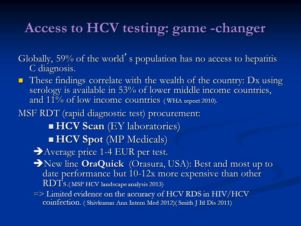 Access to HCV testing: game -changer