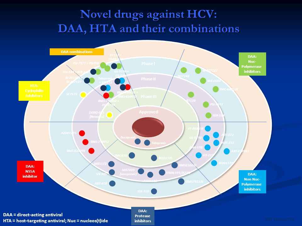 Novel drugs against HCV: DAA, HTA and their combinations
