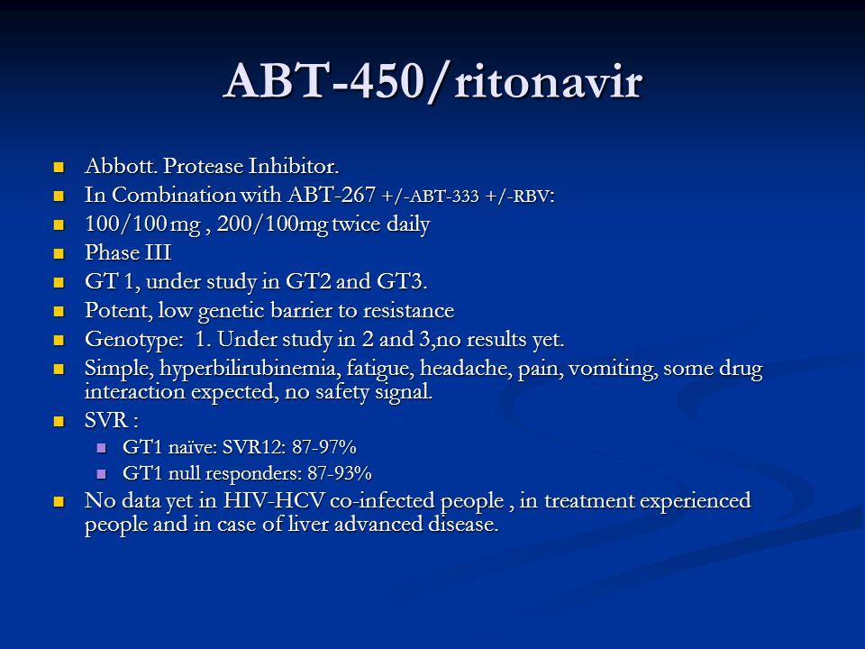ABT-450/ritonavir Abbott. Protease Inhibitor.