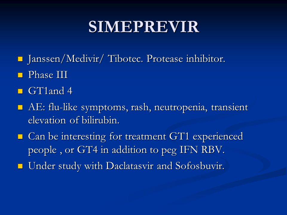 SIMEPREVIR Janssen/Medivir/ Tibotec. Protease inhibitor. Phase III