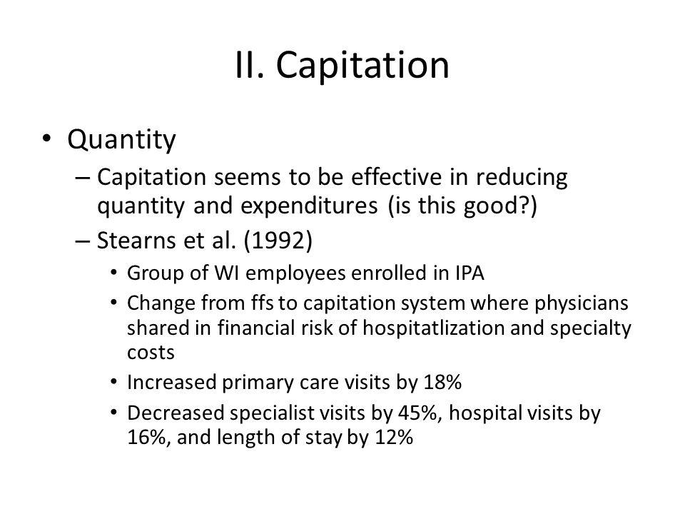 II. Capitation Quantity