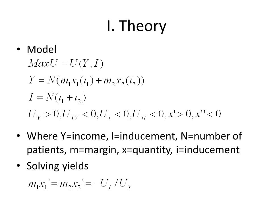 I. Theory Model. Where Y=income, I=inducement, N=number of patients, m=margin, x=quantity, i=inducement.
