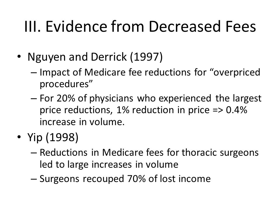 III. Evidence from Decreased Fees