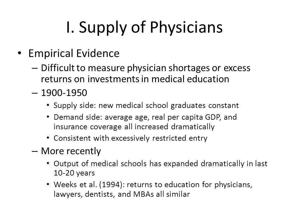 I. Supply of Physicians Empirical Evidence