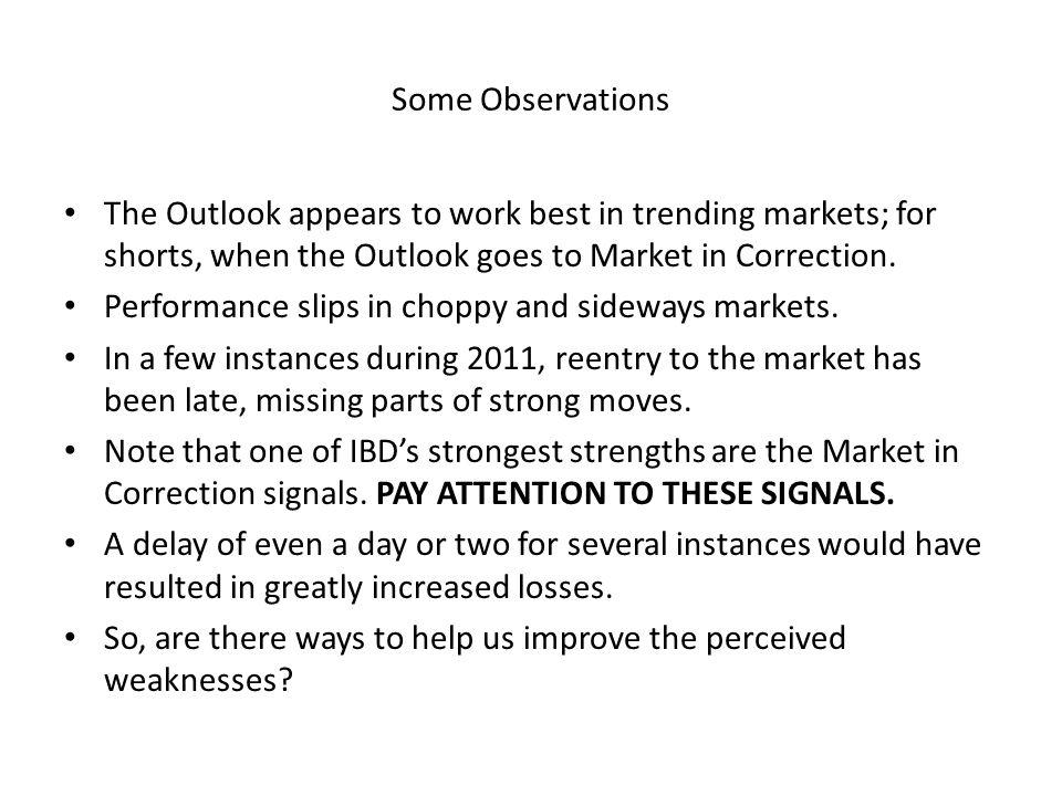 Some Observations The Outlook appears to work best in trending markets; for shorts, when the Outlook goes to Market in Correction.