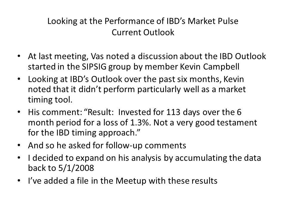 Looking at the Performance of IBD's Market Pulse Current Outlook