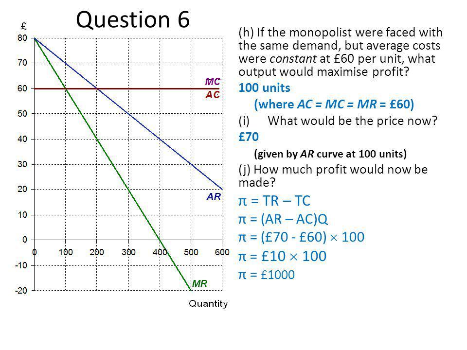 Question 6 π = TR – TC π = (AR – AC)Q π = (£70 - £60)  100