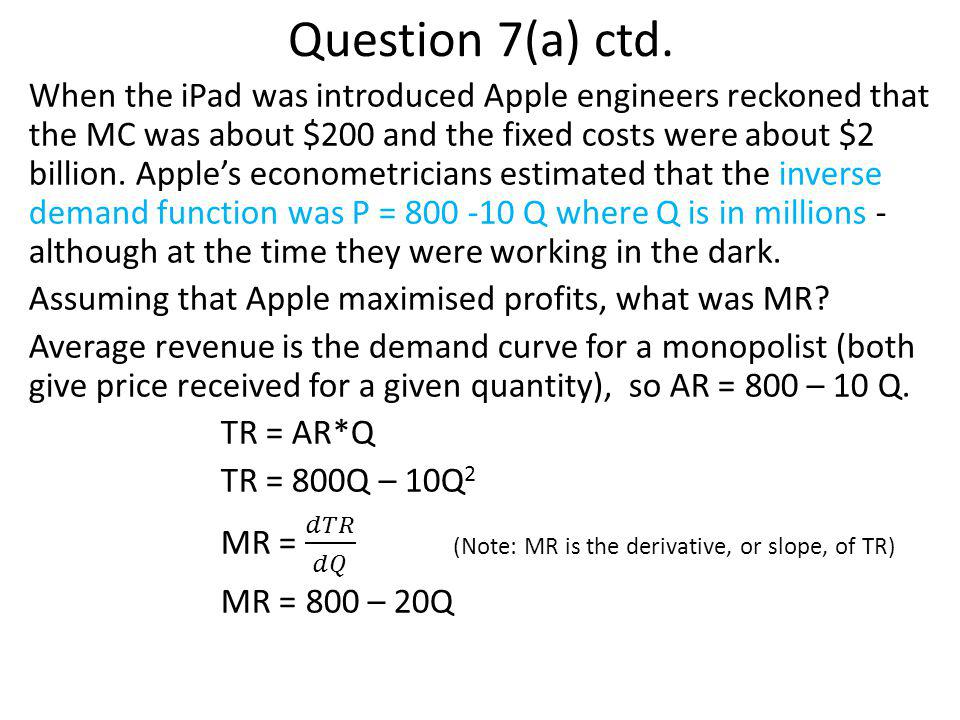 Question 7(a) ctd.