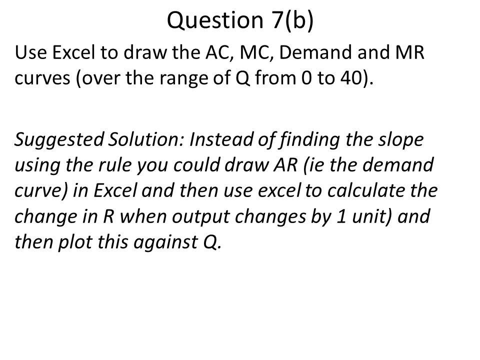 Question 7(b) Use Excel to draw the AC, MC, Demand and MR curves (over the range of Q from 0 to 40).
