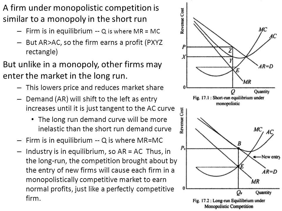 A firm under monopolistic competition is similar to a monopoly in the short run
