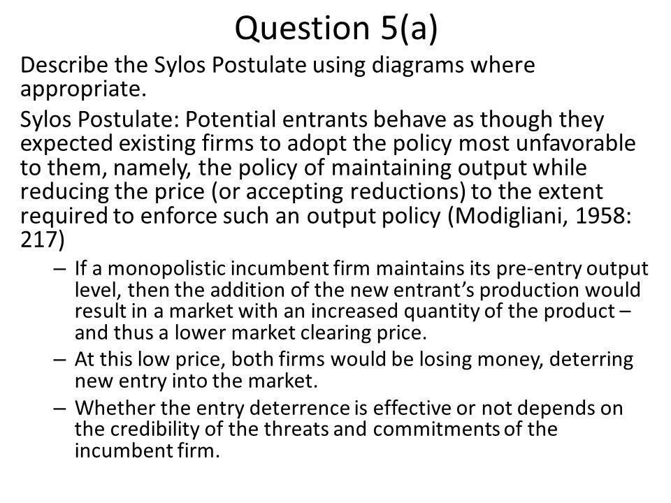Question 5(a) Describe the Sylos Postulate using diagrams where appropriate.