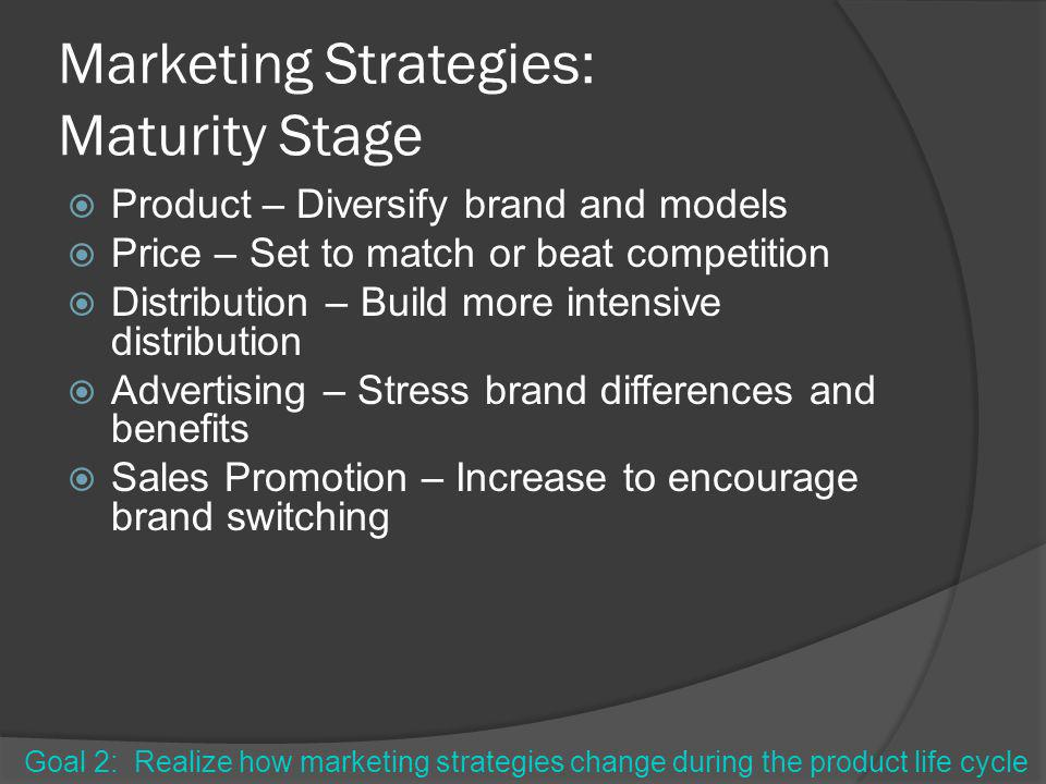 Marketing Strategies: Maturity Stage