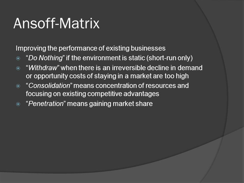 Ansoff-Matrix Improving the performance of existing businesses