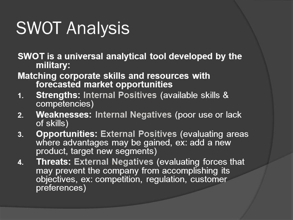 SWOT Analysis SWOT is a universal analytical tool developed by the military: