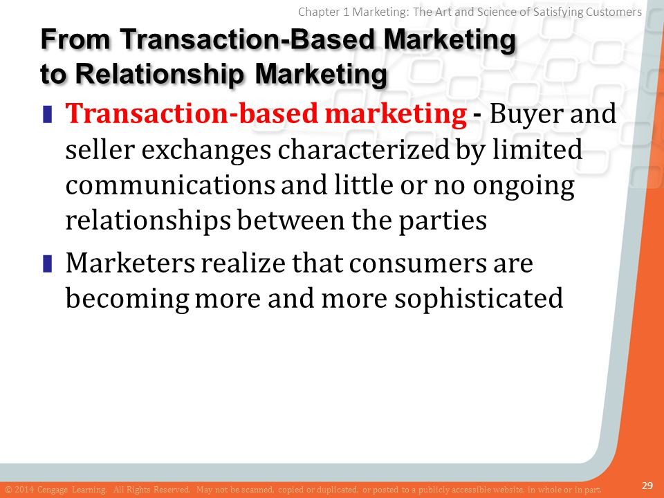 transaction oriented marketing and relationship strategy