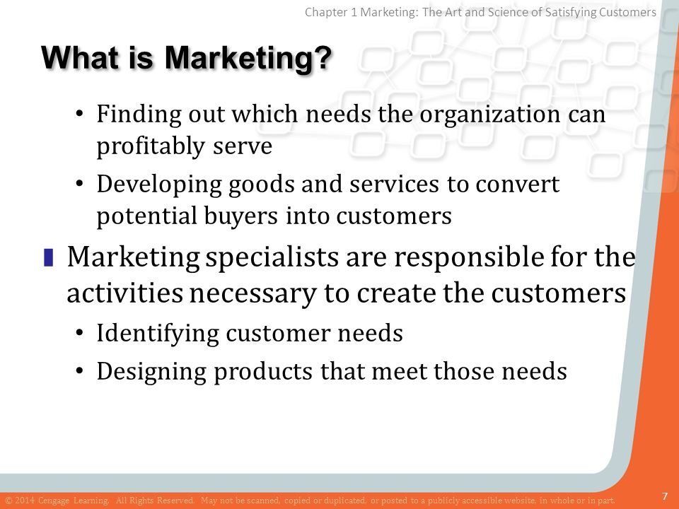 What is Marketing Finding out which needs the organization can profitably serve.