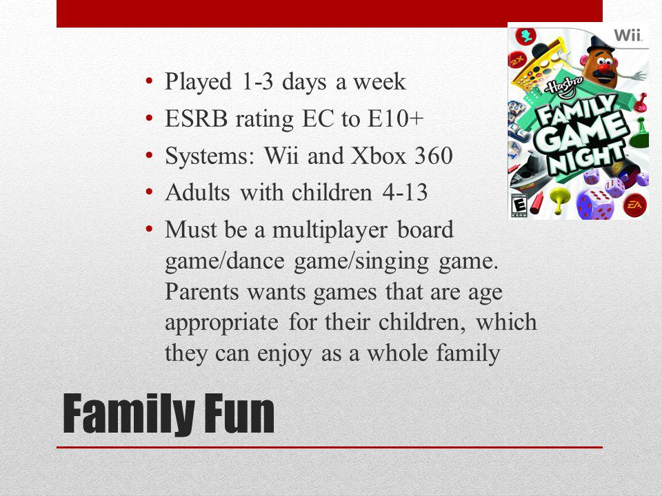 Family Fun Played 1-3 days a week ESRB rating EC to E10+