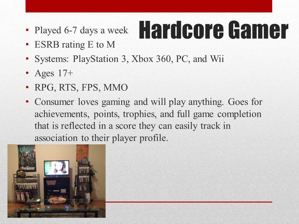 Hardcore Gamer Played 6-7 days a week ESRB rating E to M