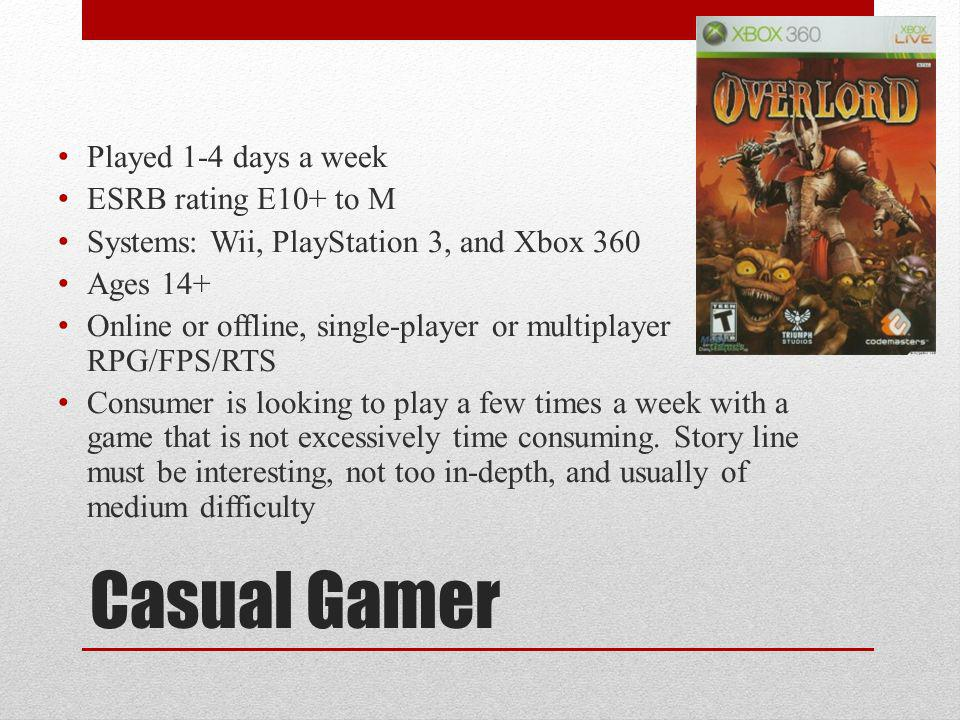 Casual Gamer Played 1-4 days a week ESRB rating E10+ to M