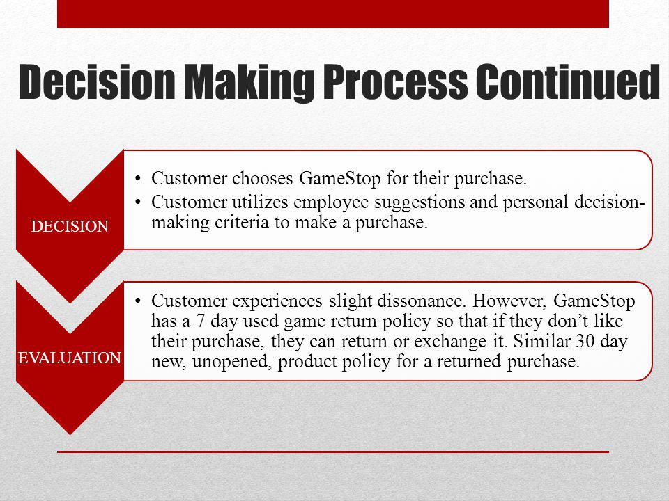 Decision Making Process Continued