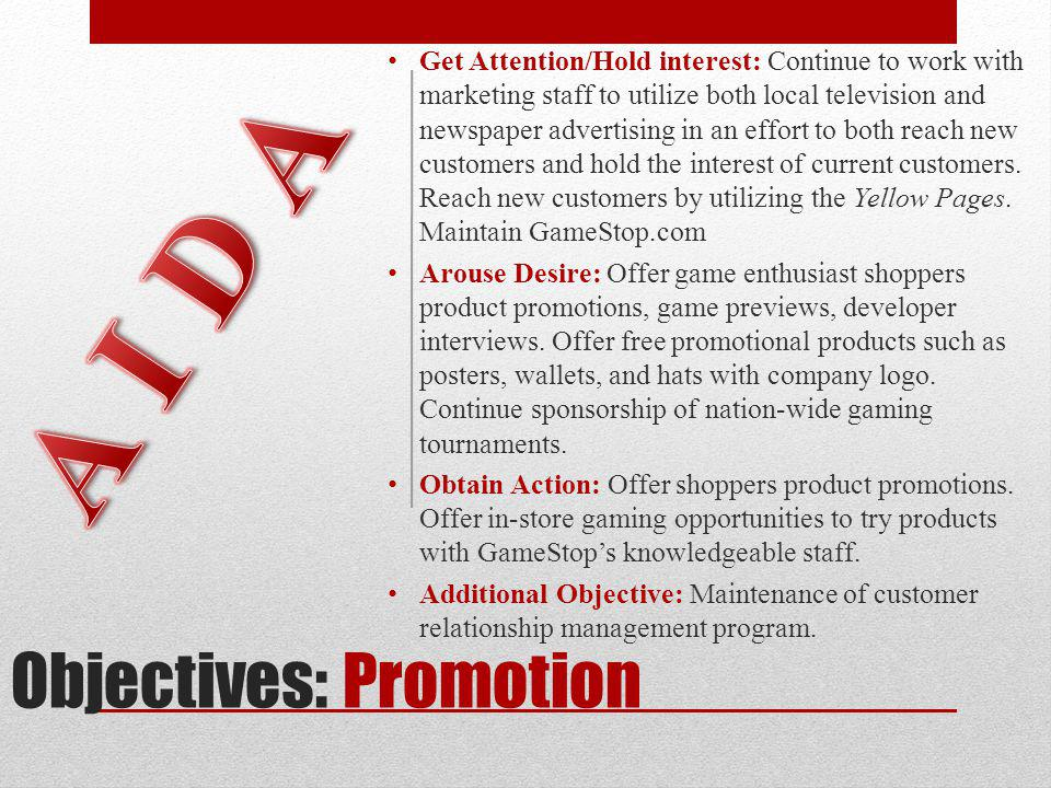 Objectives: Promotion
