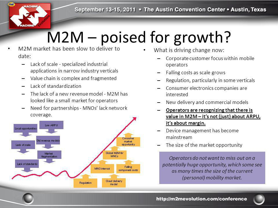 M2M – poised for growth M2M market has been slow to deliver to date: