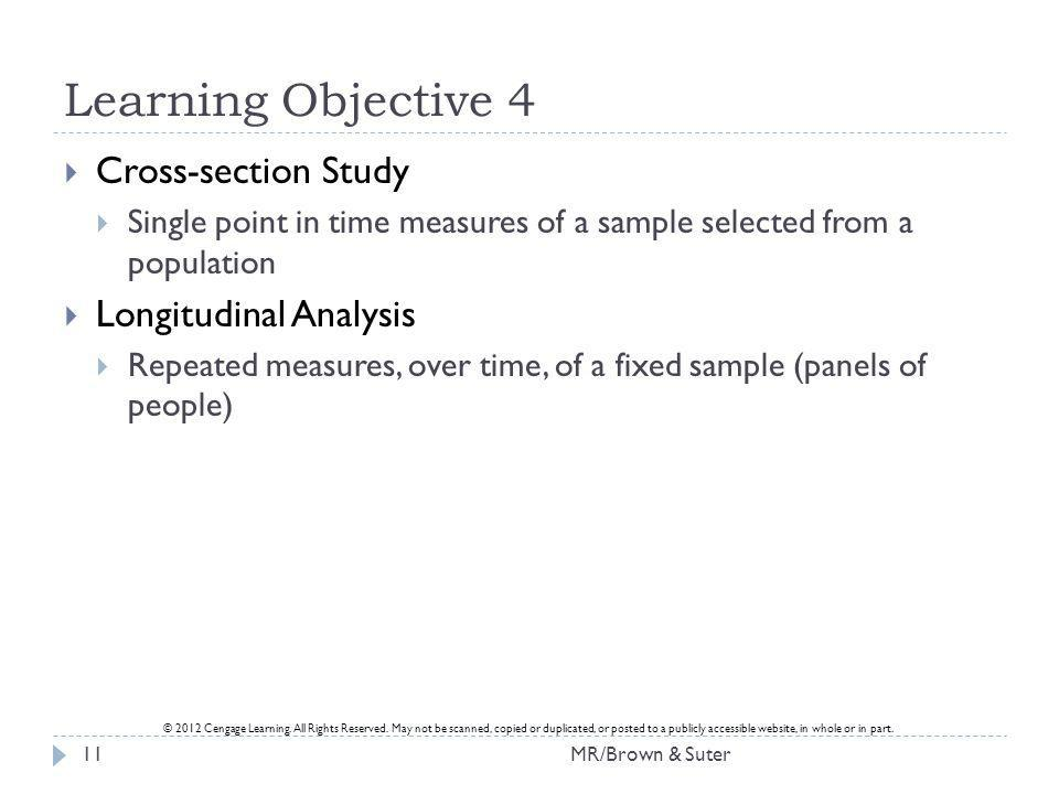 Learning Objective 4 Cross-section Study Longitudinal Analysis