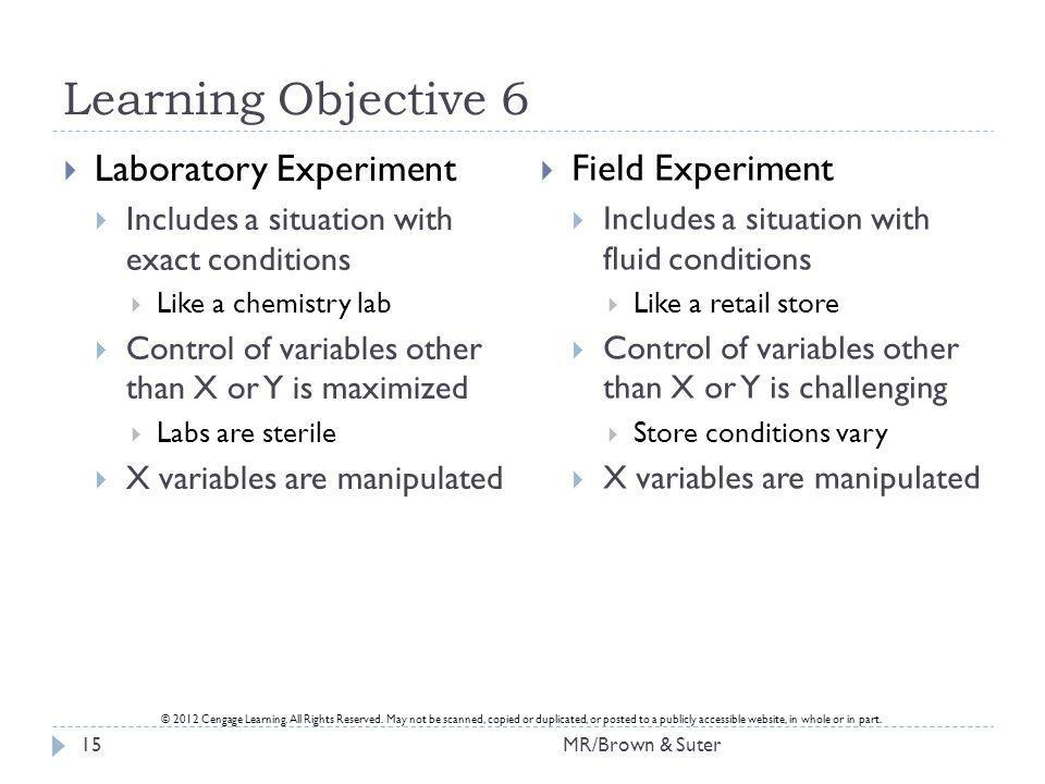 Learning Objective 6 Laboratory Experiment Field Experiment
