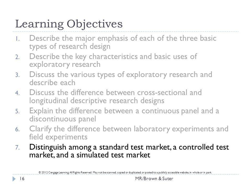 Learning Objectives Describe the major emphasis of each of the three basic types of research design.