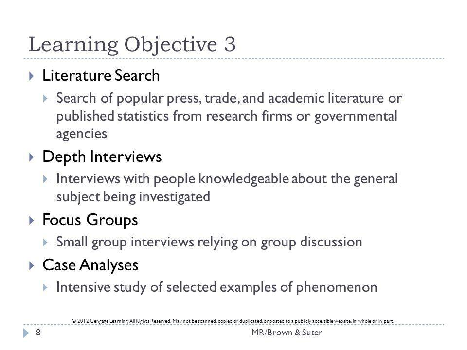 Learning Objective 3 Literature Search Depth Interviews Focus Groups