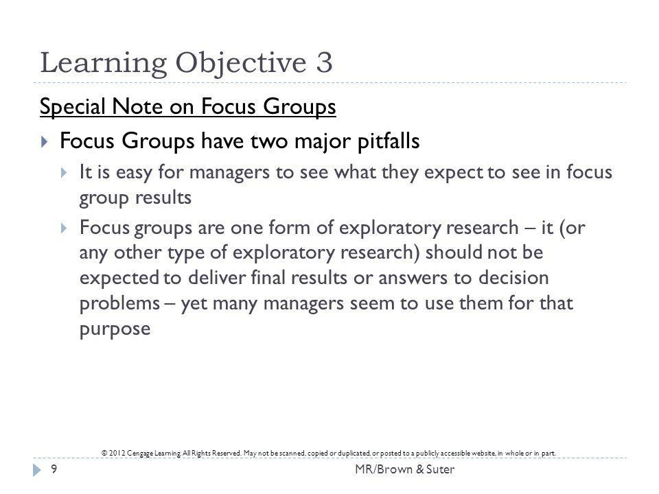 Learning Objective 3 Special Note on Focus Groups