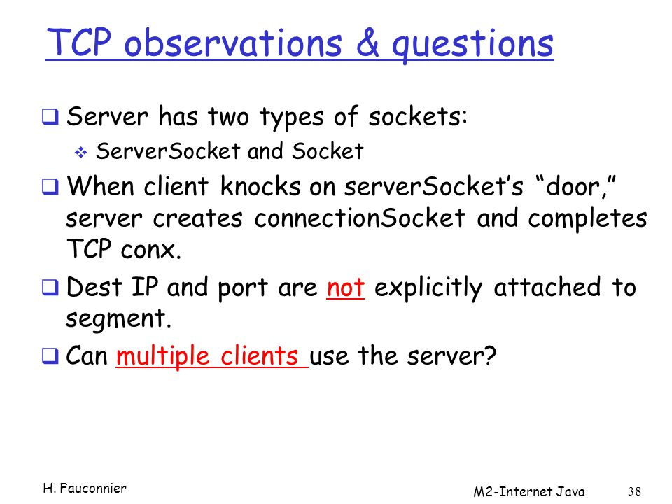 TCP observations & questions
