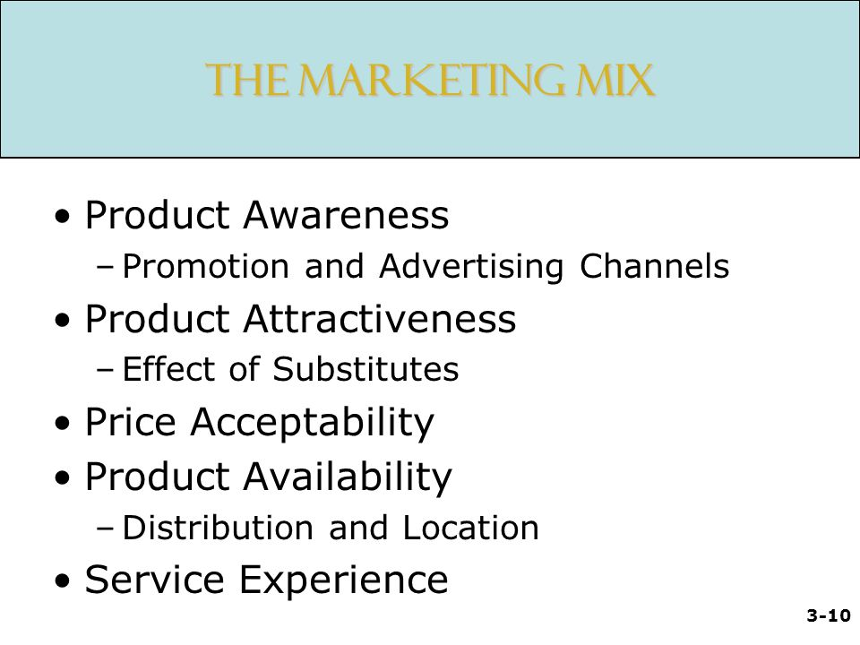 The Marketing Mix Product Awareness Product Attractiveness