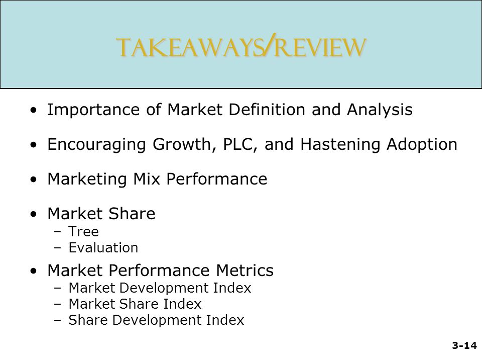 Takeaways/Review Importance of Market Definition and Analysis