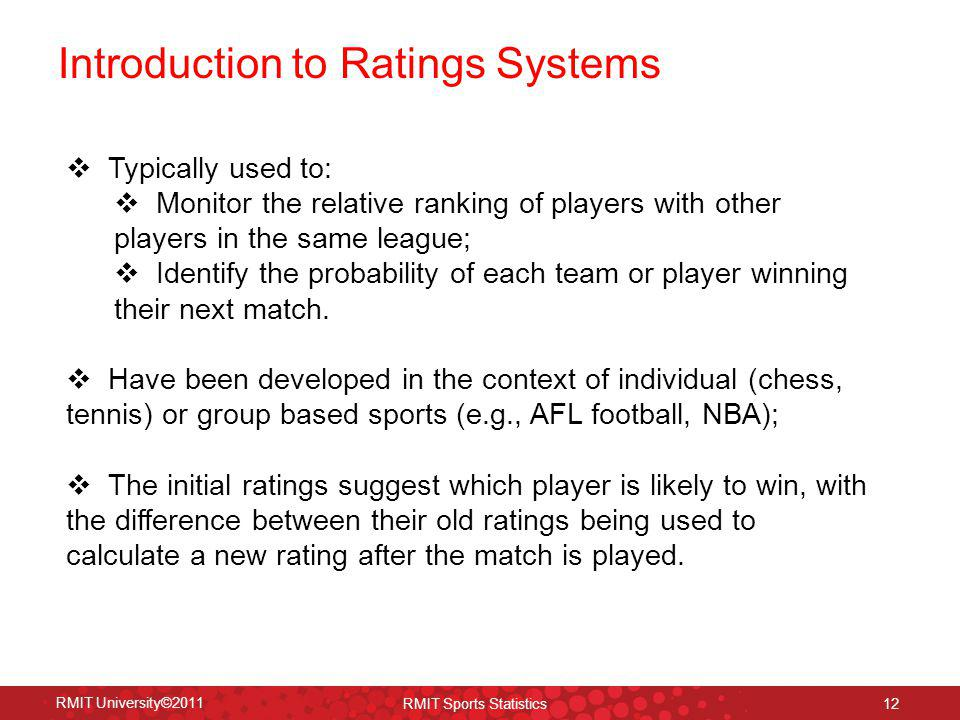 Introduction to Ratings Systems